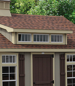 shed dormer feature addon for quality outdoor shed from Overholt and Sons