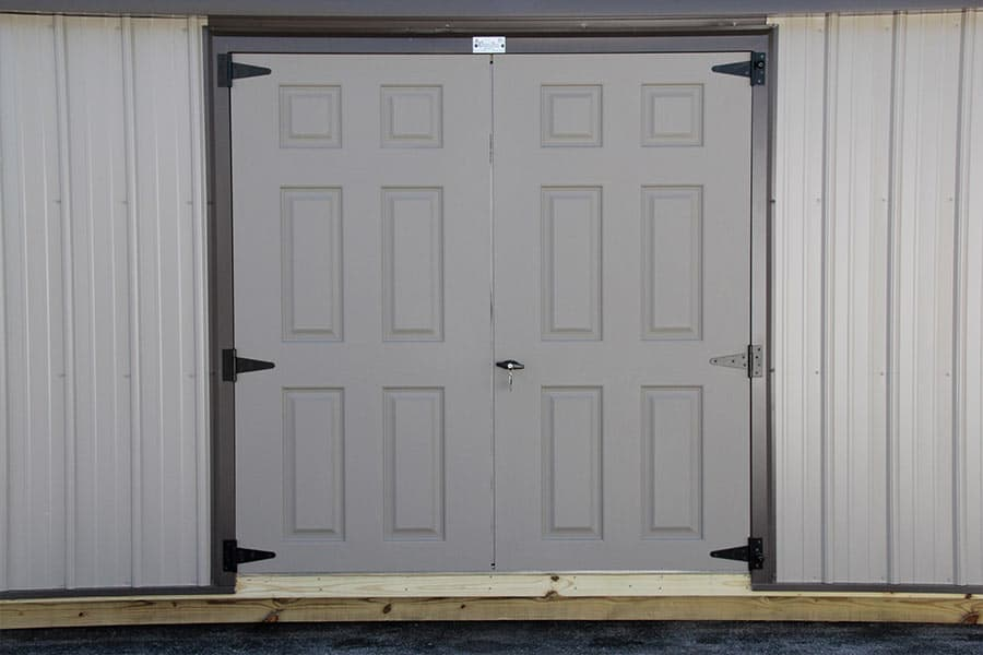 double doors on a storage building