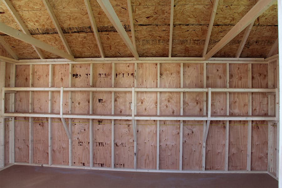 storage building with shelving on inside